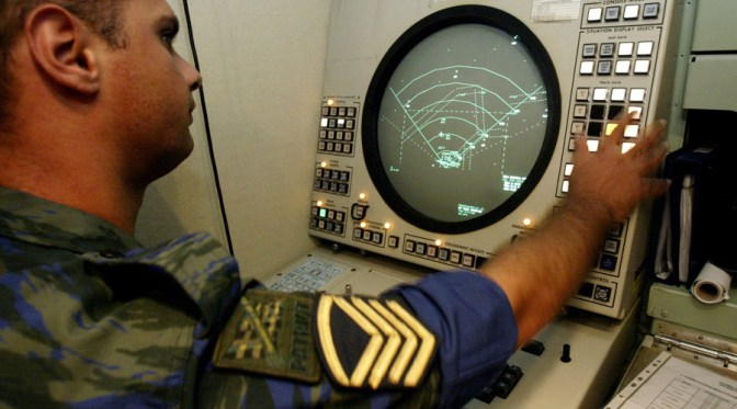 A Greek Air Force officer operates the radar of a Patriot air defence missiles at Tatoi air base, north of Athens July 27, 2004. Dozens of new Pac 3 (Patriot Advanced Capability) missiles were armed and in position at three locations around Attica basin providing an air defence umbrella over the Greek capital as part of a massive security plan to safeguard the upcoming Athens 2004 Olympic Games. REUTERS/Yiorgos Karahalis YK/AA - RTRU50W