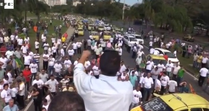 Rio taxi drivers protest against Uber