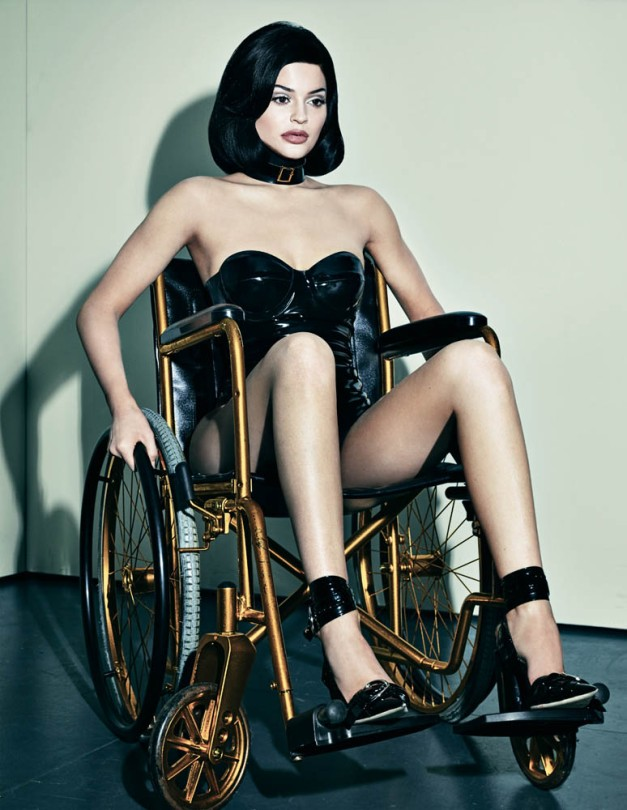 This pic of her in a wheelchair caused controversy because, mainly, Kylie is not disabled, it is being used as some kind of edgy fashion statement. More importantly, it represents the Kylie's true handicap: Beta Kitten.