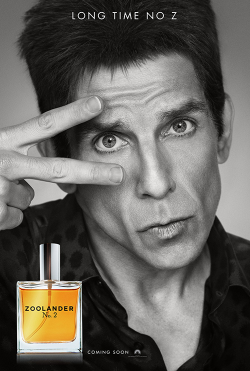 A nice one-eye sign on a poster for the upcoming movie Zoolander 2. The first movie was about a brainless fashion model who was mind controlled and programmed to kill a political figure using a trigger word. Yup.