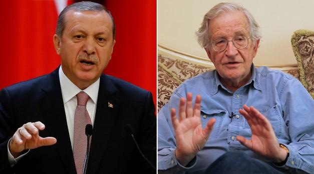 Turkish President Tayyip Erdogan (L) and Noam Chomsky © Stringer