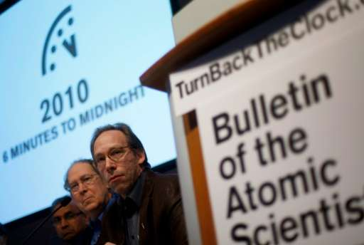 Arizona State University cosmologist Lawrence Krauss (R), pictured on January 14, 2010, sparked a firestorm of speculation and e