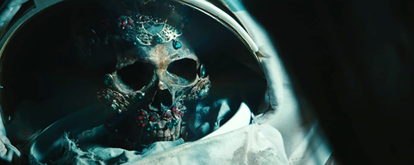 Inside the helmet is a jewel-incrusted skull, the perfect kind of artifact to be used during Black magick.