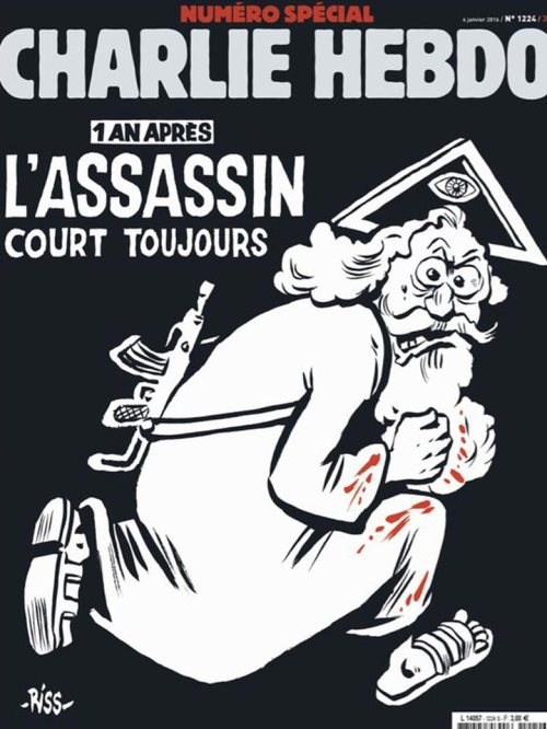 """For the one year anniverery of the Charlie Hebdo attacks, the magazine launched a special edition with a rather symbolic cover. It indeed features God himself portrayed as a terrorist wearing a bloody robe under the title """"1 an après. L'assassin court toujours"""" which means """"1 year later, the assassin is still on the run"""". Above God is the symbol of the Eye Seeing Eye inside a triangle, which is a symbol used by some Churches to represent divinity. As you might know, it is also the symbol to represent to the occult elite and descends from the ancient Egyptian symbol of the Eye of Horus."""