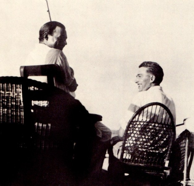 Hemingway (left) and Samuelson fishing and talking in Key West.