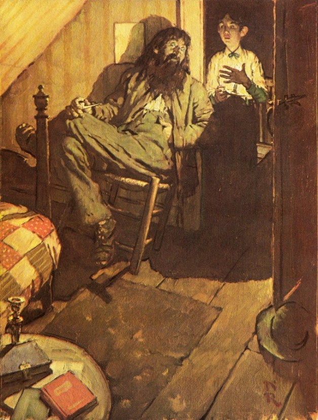 Art by Norman Rockwell for a rare edition of Mark Twain's Adventures of Huckleberry Finn