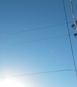 Mysterious fibers containing barium, strontium and aluminum found on power lines after military test, Chino Valley, AZ. (Photo Credit: Marie Snow)