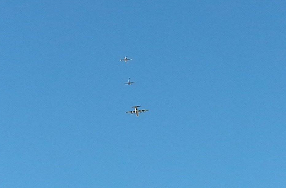 A C-130 and two other planes conducting biowarfare, geoengineering operations over Chino Valley, Arizona, Nov., 2014. (Photo Credit: Marie Snow)