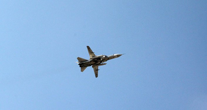 Russian Sukhoi Su-24 jet takes off from Hmeymim Air Base in the Latakia province, Syria.