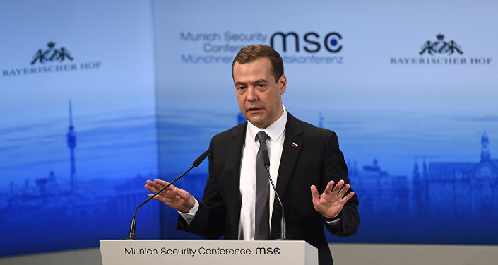Russian Prime Minister Dmitry Medvedev speaks during a panel discussion at the second day of the 52nd Munich Security Conference (MSC) in Munich, southern Germany, on February 13, 2016