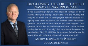 Andy 2016 presidential candidate disclosing truth NASA