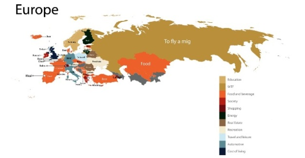 Image Source: Fixr - A map of the European continent showing the results of the most searched term(s) in the country.