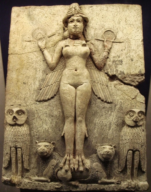 "Most of the world's ""elite"" (active and former Presidents, Prime Ministers, Politicians, Judges, etc. and even Royalty), take part at this annual ritual. Notice the fish-god priests conducting the ritual. Here is a depiction of Ishtar/Inanna flanked by a couple of owls, and designed to look like an owl herself (notice the legs and wings):"