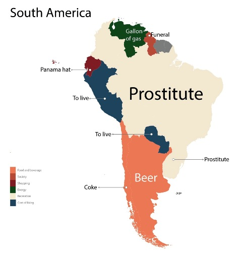 Image Source: Fixr - A map of the South American continent showing the results of the most searched term(s) in the country.