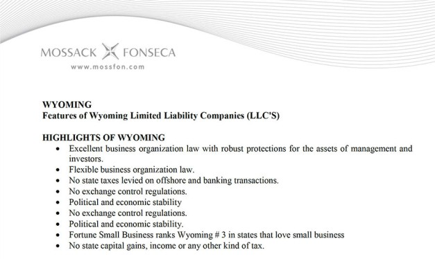 Mossack Fonseca's marketing materials touting the advantages of registering a LLC in Wyoming (via mossfon.com)