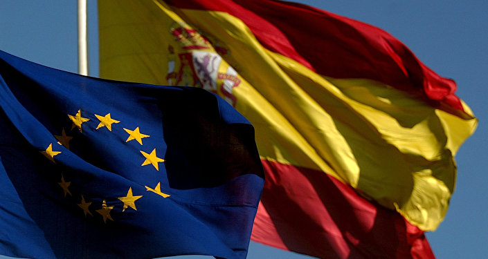 The Spanish flag and the European flag