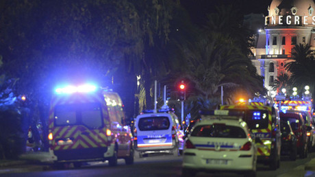 French police and rescue forces vehicles are seen on the Promenade des Anglais July 15, 2016 after at least 84 people were killed in Nice, France, when a truck ran into a crowd celebrating the Bastille Day national holiday July 14. © Jean-Pierre Amet