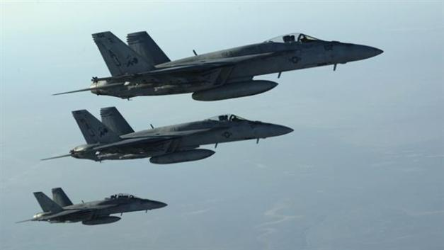 This file photo shows a formation of US Navy F-18E Super Hornets over northern Iraq after carrying out a sortie in Syria.