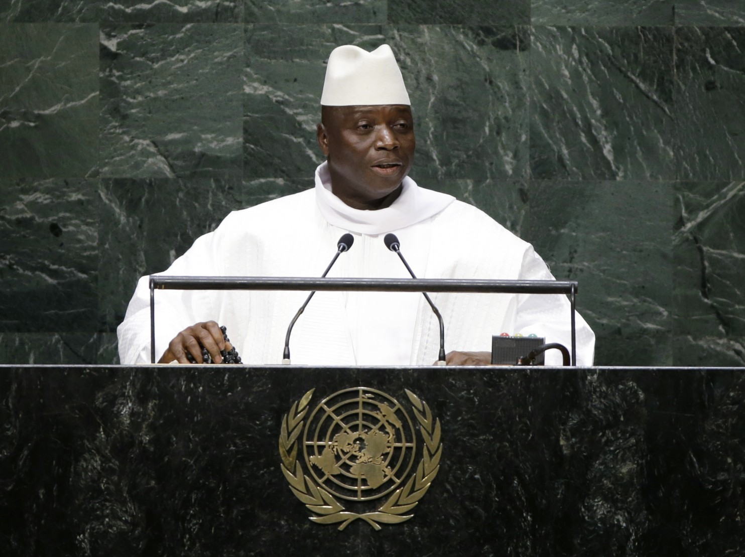 Gambian President Yahya Jammeh addresses the United Nations in 2014. Gamibia announced its plans to leave the International Criminal Court on Tuesday. (Frank Franklin II/AP)
