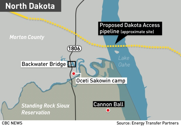 'I'm here until they're done': Standing Rock protesters savour a victory, but not packing up just yet Gfx-map-standing-rock-dakota-access-protest-key-areas1