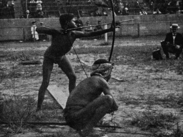 "Human zoos existed 16 Depressing Photos That Will Destroy Your Faith In Humanity - Here, people of indigenous races are shown participating in archery at the ""Savage Olympics Exhibition"" organised in 1904 in St Louis by the whites."