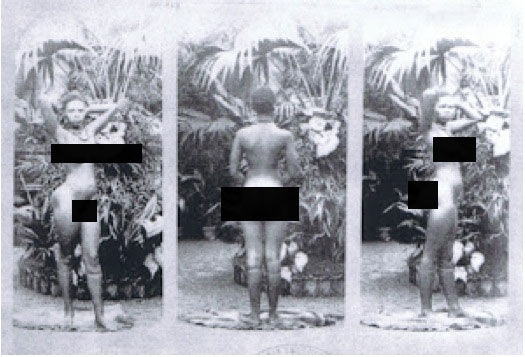 """Human zoos existed 16 Depressing Photos That Will Destroy Your Faith In Humanity - Sarah Baartman – the girl who embodied the inhumanity of the human zoos, here, being """"exhibited""""."""