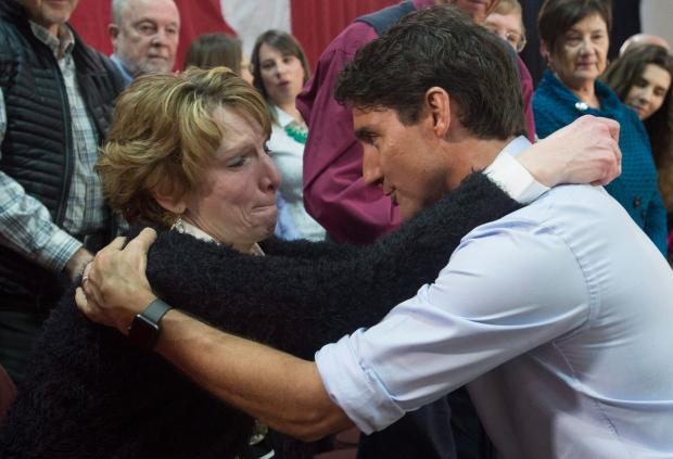 Justin Trudeau hugs Kathy Katula