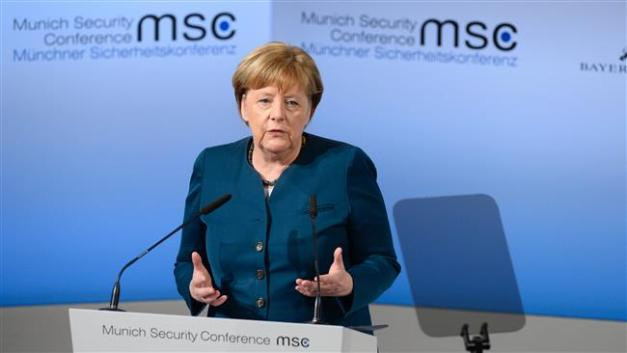 German Chancellor Angela Merkel delivers a speech on the 2nd day of the 53rd Munich Security Conference (MCS) in Munich, southern Germany, on February 18, 2017. (Photo by AFP) Thomas Kienzle