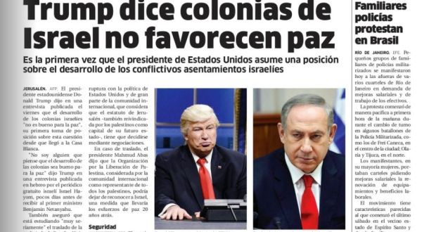 "This screen grab of the digitised version of the Dominican Republic's El Nacional print edition on Friday shows comedian Alec Baldwin doing his impression of President Donald Trump on Saturday Night Live next to a photo of Israeli prime minister Benjamin Netanyahu on the paper's international page with the Spanish headline: Trump says settlements in Israel don't favour peace."" The Spanish caption under Baldwin's photo reads: ""Donald Trump, president of US"" The newspaper published an apology on Saturday. (El Nacional via AP)"