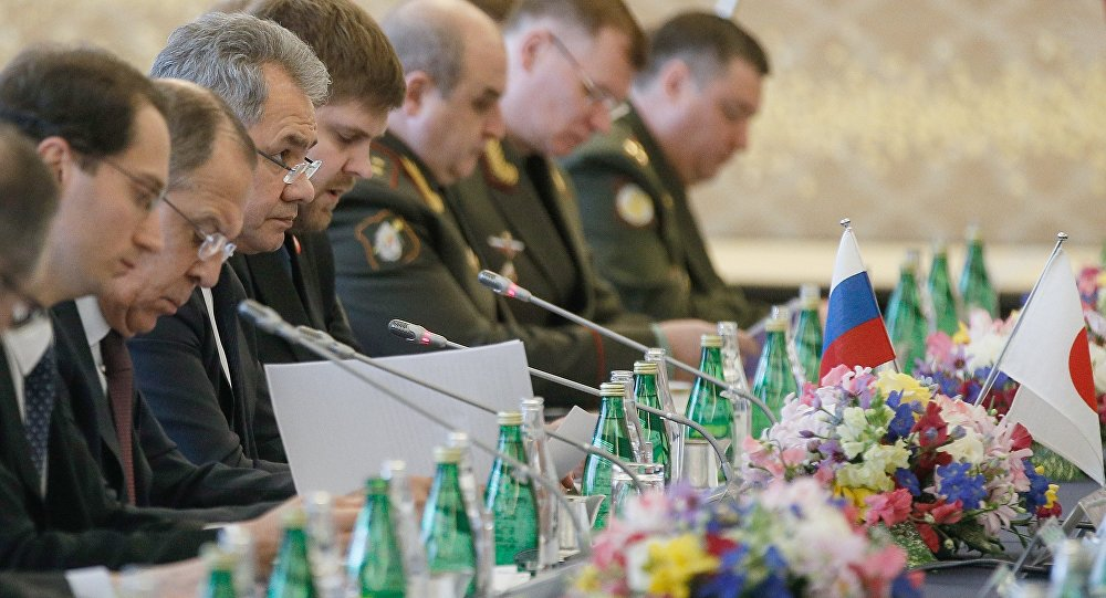 Russian Defense Minister Sergei Shoigu, third left, and Foreign Minister Sergei Lavrov, second left, during two-plus-two talks with Japanese defense and foreign ministers in Tokyo.