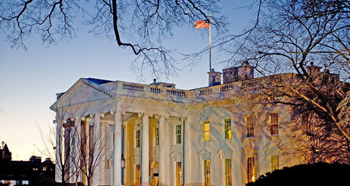 The day breaks behind the White House in Washington,DC