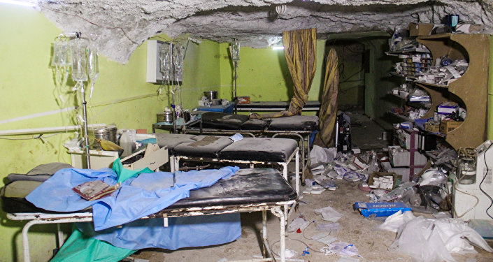 A picture taken on April 4, 2017 shows destruction at a hospital room in Khan Sheikhun, a rebel-held town in the northwestern Syrian Idlib province, following a suspected toxic gas attack.
