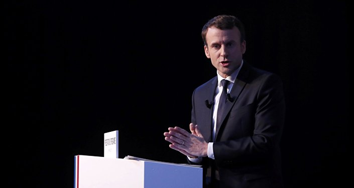 Emmanuel Macron, head of the political movement En Marche !, or Onwards !, and candidate for the 2017 French presidential election, speaks during a news conference to unveil his fully budgeted manifesto, named a contract with the nation, in Paris, France, March 2, 2017