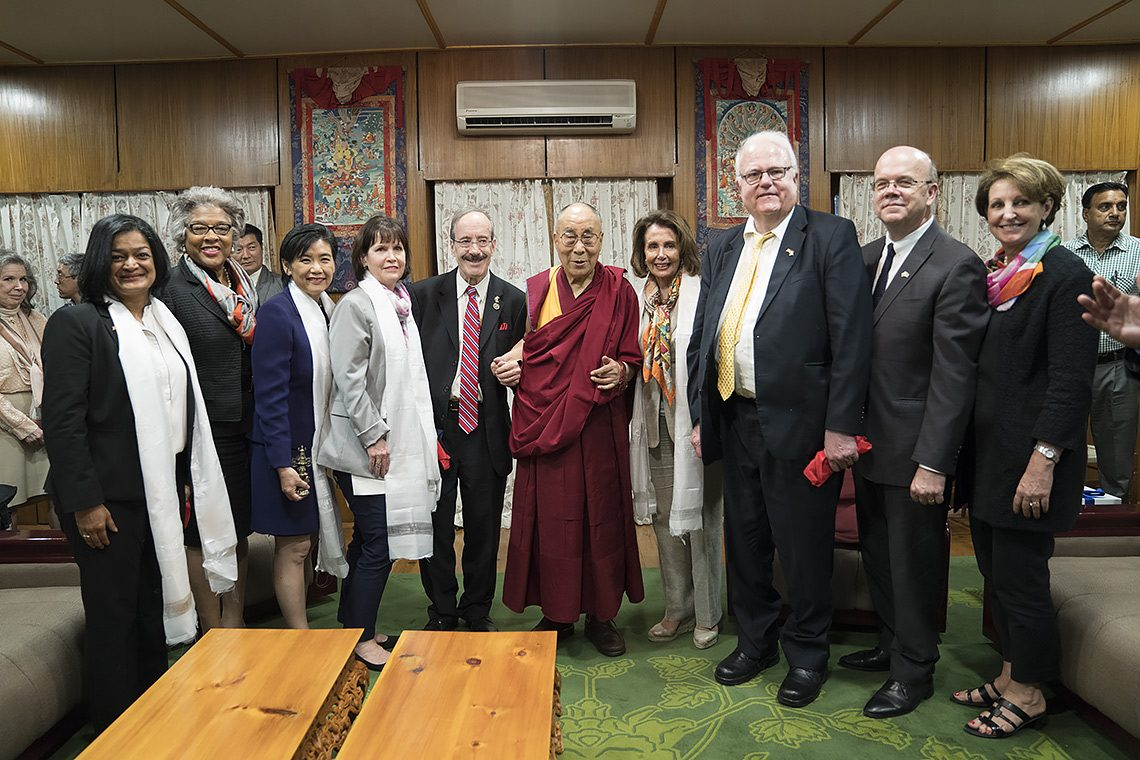His Holiness the Dalai Lama with the member of bipartisan US Congressional Delegation at his residence in Dharamsala, H.P. India on May 9, 2017. (Photo courtesy: T.Choejor/OHHDL)