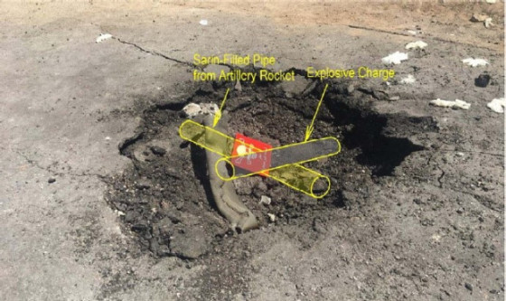 Figure 4 shows the possible configuration of an improvised sarin dispersal device that could have been used to create the crater and the crushed carcass of what was originally a cylindrical pipe.