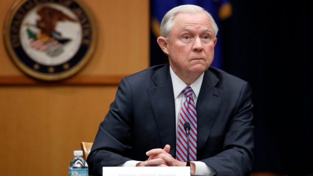 U.S. Attorney General Jeff Sessions is seen at the Justice Department in Washington. Sessions is directing federal prosecutors to pursue the most serious charges possible against the vast majority of suspects, a reversal of Obama-era policies.