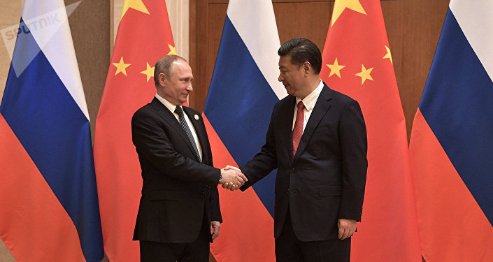 President Vladimir Putin and President of China Xi Jinping, right, during the Russia-China talks at the One Belt, One Road international forum