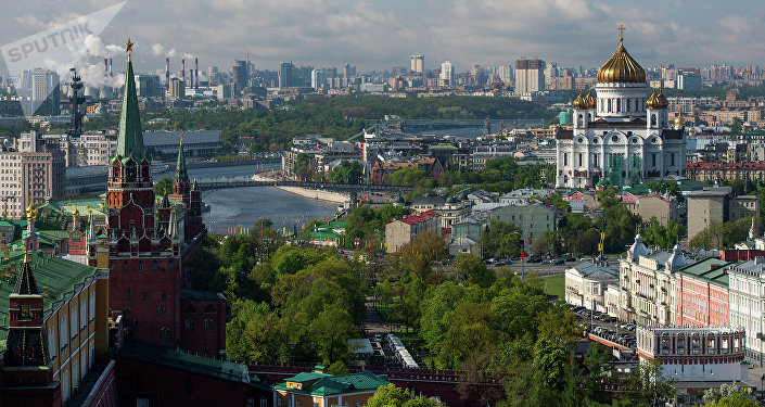 View of the Moscow Kremlin towers, Alexander Garden and the Cathedral of Christ the Savior.