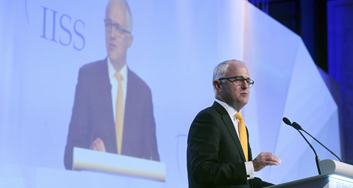Australia's Prime Minister Malcolm Turnbull delivers the keynote address at the 16th International Institute for Strategic Studies Shangri-la Dialogue, or IISS, Asia Security Summit on Friday, June 2, 2017 in Singapore.