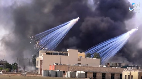 Alleged deployment of white phosphorus munitions in Raqqa as reported by ISIS-linked Amaq news agency © YouTube
