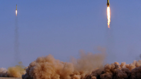 FILE PHOTO: Ballistic missiles are launched during the military exercises, codenamed Great Prophet-6, for Iran's elite Revolutionary Guards at an unknown location on June 28, 2011© Rouholla Vandati / ISNA