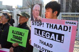 north korea provocation south korea protest THAAD