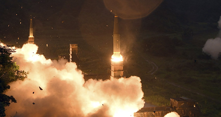 In this photo provided by South Korea Defense Ministry, South Korea's Hyunmoo II Missile system fire missiles during the combined military exercise between the U.S. and South Korea against North Korea at an undisclosed location in South Korea, Saturday, July 29, 2017.
