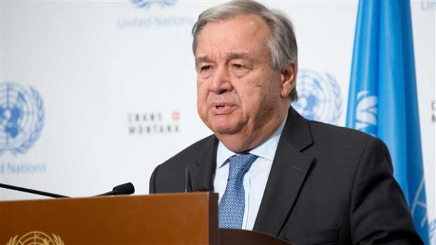 This July 7, 2017 file photo provided by the United Nations shows Secretary General Antonio Guterres addressing a press conference in the Swiss resort of Crans-Montana. (Photos by AFP)