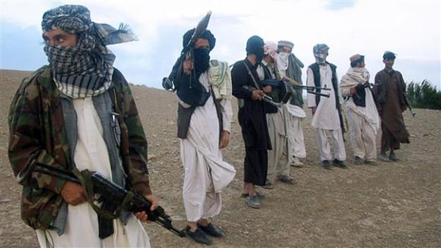 This file photo shows members of the Taliban militant group in an unknown location in Afghanistan.