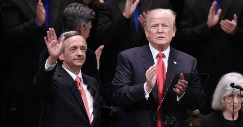 U.S. President Donald Trump and Pastor Robert Jeffress participate in the Celebrate Freedom Rally at the John F. Kennedy Center for the Performing Arts on July 1, 2017 in Washington, D.C.