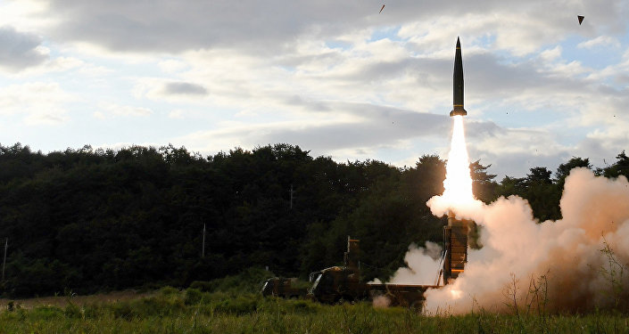 In this photo provided by South Korea Defense Ministry, South Korea's Hyunmoo II ballistic missile is fired during an exercise at an undisclosed location in South Korea, Friday, Sept. 15, 2017