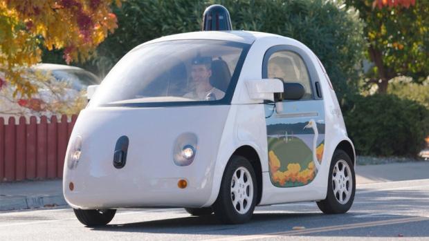 The Google Waymo autonomous test car on the streets of Mountain View, California.