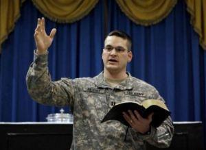 Military chaplain preaching