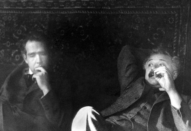 Niels Bohr and Albert Einstein at the Fifth Solvay Congress.